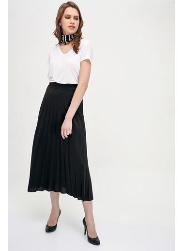 Cottonmood 9072693 Mira Pliseli Beli Lastikli Uzun Etek Tarçin Siyah